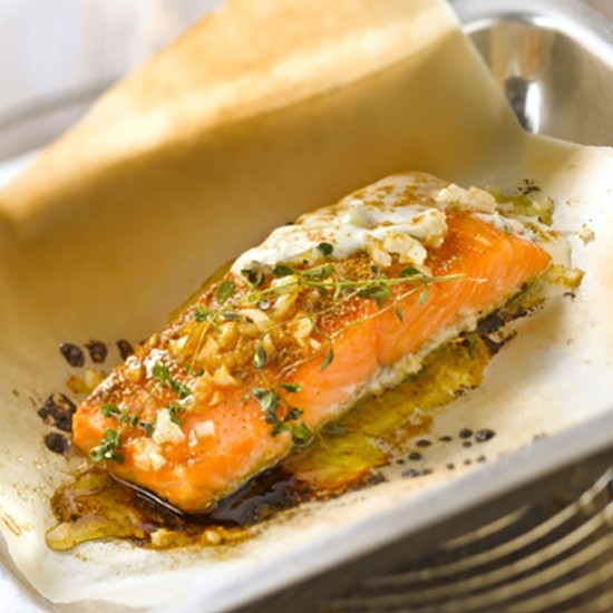 Salmon in a Pouch with Fresh Mint and Pastis