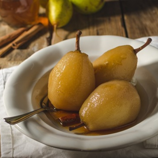 Poached pears with badiane and pastis Henri Bardouin