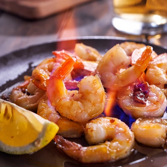 Gambas with the absinthe Grande Absente