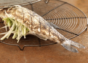 Grilled sea bass flambeed with HB pastis