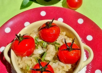 Goat wheat risotto, pastis and cherry tomatoes roasted Balsamic By Magali