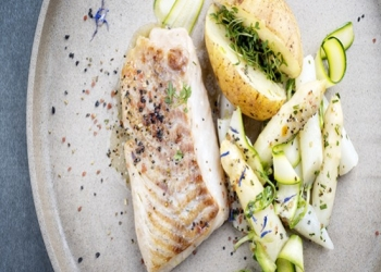 Fillets of perch, sauce in the Pastis Henri Bardouin and spring vegetables